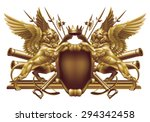 two winged lion with a crown... | Shutterstock .eps vector #294342458