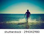 silhouette of man running... | Shutterstock . vector #294342980