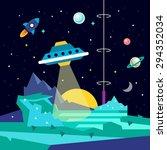 alien space planet landscape... | Shutterstock .eps vector #294352034