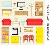 big apartment furniture set.... | Shutterstock .eps vector #294357758