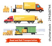 cargo transportation by road... | Shutterstock .eps vector #294368744