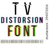 tv distortion font  three... | Shutterstock .eps vector #294372314