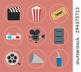 cinema icons set for use in... | Shutterstock .eps vector #294375713