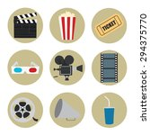 cinema icons set for use in... | Shutterstock .eps vector #294375770