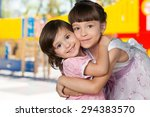 embracing  sister  childhood. | Shutterstock . vector #294383570