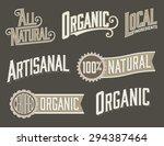 set of 6 organic  natural food... | Shutterstock .eps vector #294387464
