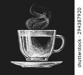 vector cup of tea on blackboard.... | Shutterstock .eps vector #294387920