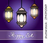 happy eid. eid mubarak greeting ... | Shutterstock .eps vector #294392069