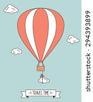 hot air balloon with clouds and ... | Shutterstock .eps vector #294393899
