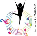 dancer with music note design... | Shutterstock .eps vector #294403613