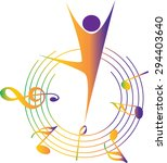 dancer with music note design... | Shutterstock .eps vector #294403640