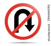 no u turn  traffic sign  on... | Shutterstock .eps vector #294444590