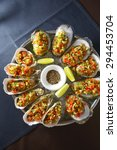 oysters on half shell on ice | Shutterstock . vector #294453704