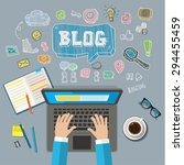 writing an article for blog on... | Shutterstock .eps vector #294455459