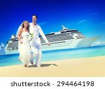 marriage couple honeymoon beach ... | Shutterstock . vector #294464198