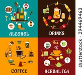 beverage icons in flat style... | Shutterstock .eps vector #294469463