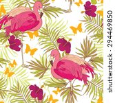 seamless pattern with flamingo  ... | Shutterstock .eps vector #294469850