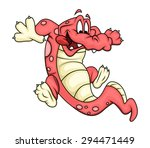 cartoon crocodile playing | Shutterstock .eps vector #294471449