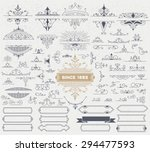 Stock vector kit of vintage elements for invitations banners posters placards badges or logotypes 294477593