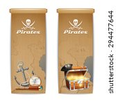 pirate banner vertical set with ... | Shutterstock .eps vector #294477644