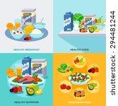 healthy food design concept set ... | Shutterstock .eps vector #294481244
