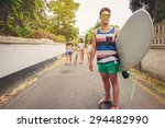 Young Man Riding On A Skate And ...