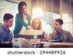 group of young colleagues using ... | Shutterstock . vector #294489926