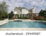 pool and deck of large home | Shutterstock . vector #29449087