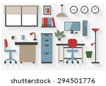 flat business office furniture... | Shutterstock .eps vector #294501776