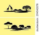 africa monochrome landscape | Shutterstock .eps vector #294542078