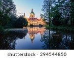 Stock photo royal palace reflecting in the water at night 294544850