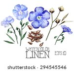 watercolor linen set. vector... | Shutterstock .eps vector #294545546