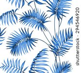 topical palm leaves on seamless ... | Shutterstock .eps vector #294546920