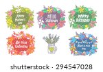 flower wreath for happy... | Shutterstock .eps vector #294547028