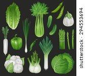 set of fresh green vegetables.... | Shutterstock .eps vector #294553694