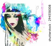 fashion illustration with a... | Shutterstock .eps vector #294558308