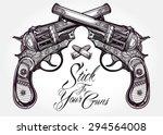 Hand Drawn Retro Gun Pistols...