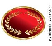 red blank oval metallic laurel...
