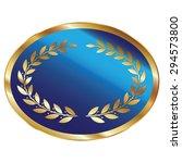 blue blank oval metallic laurel ...