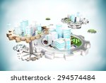 smart city on gears   with park ... | Shutterstock . vector #294574484