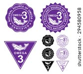 omega 3 certified seals icons... | Shutterstock .eps vector #294580958
