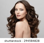 beautiful face of young woman... | Shutterstock . vector #294584828