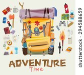 adventure backpack with... | Shutterstock .eps vector #294588659