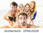 selfie on the beach  five... | Shutterstock . vector #294613220