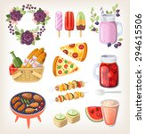colorful elements and food for... | Shutterstock .eps vector #294615506