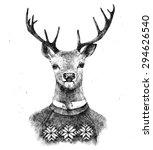 Hand Drawn Deer Portrait In...