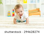 funny baby boy crawling on... | Shutterstock . vector #294628274