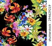 garden floral watercolor... | Shutterstock . vector #294629219