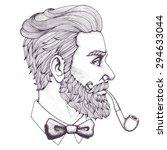 Hand Drawn Portrait Of Bearded...