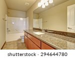 modern bathroom with full bath... | Shutterstock . vector #294644780